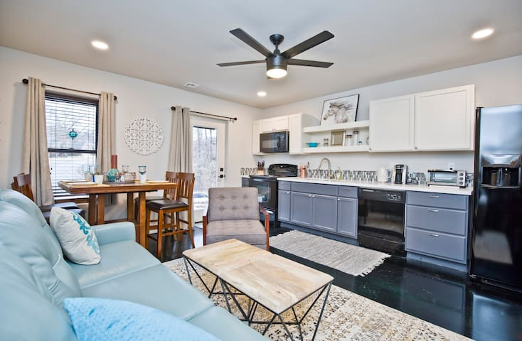 Full kitchen with all the amenities! FULL size refrigerator with Ice Maker in door.