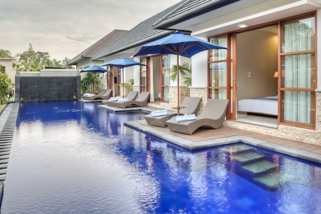 Private huge swimming pool and garden.