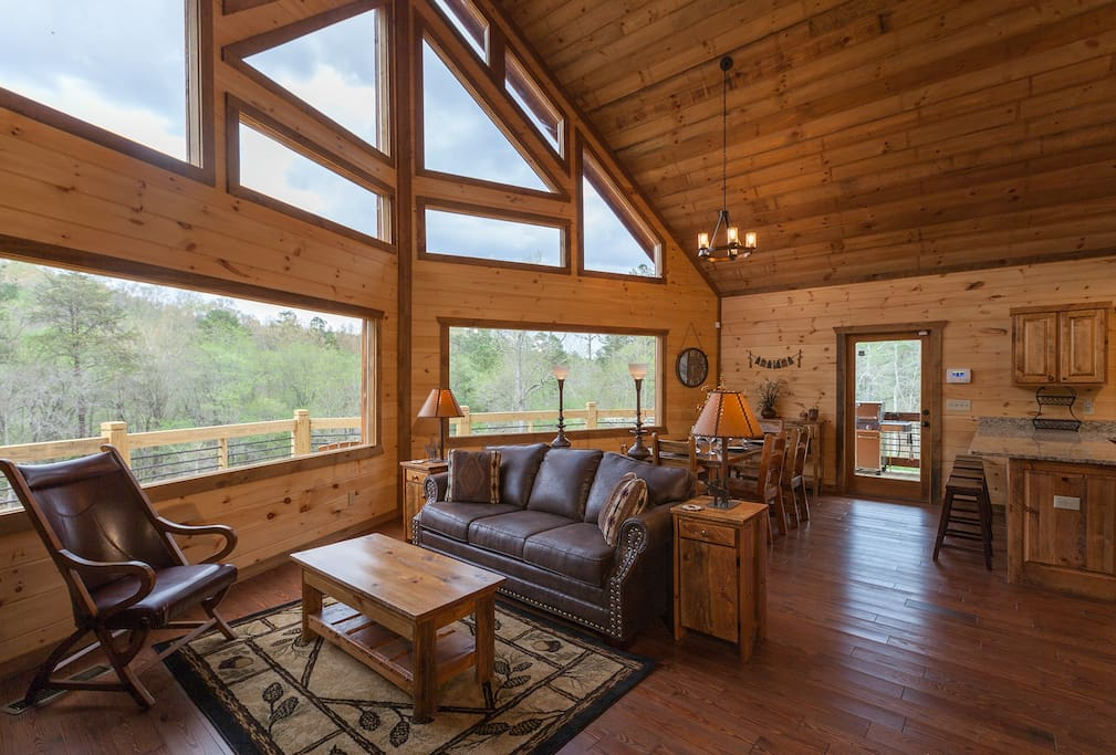 Living Area with Stunning Picture Windows Overlooking the Toccoa River