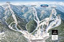 Bear Mountain Ski Resort trail map. Located 4.1 miles from the cabin.