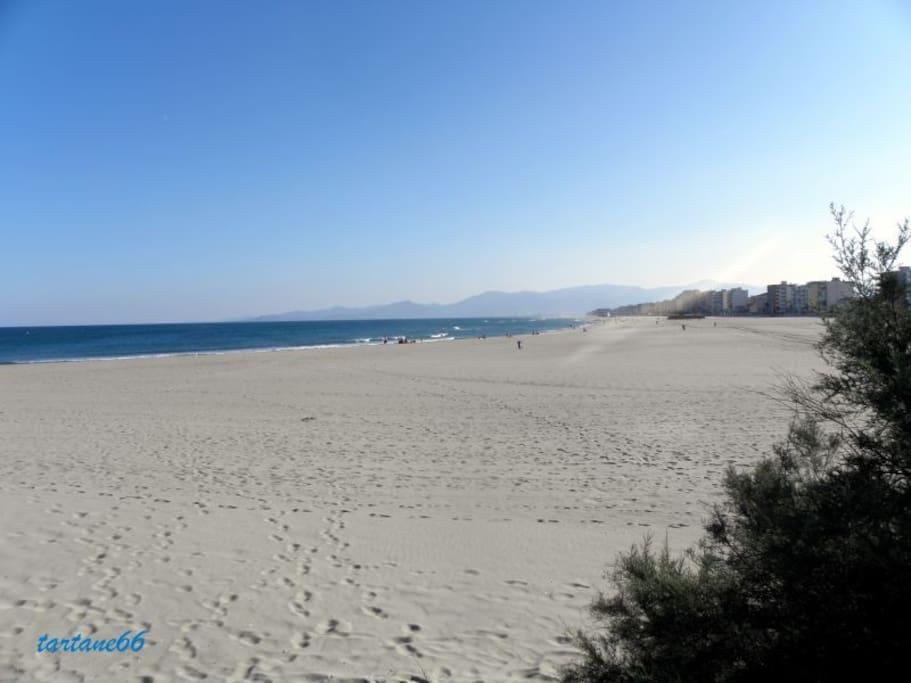 La grande plage de sable blanc
