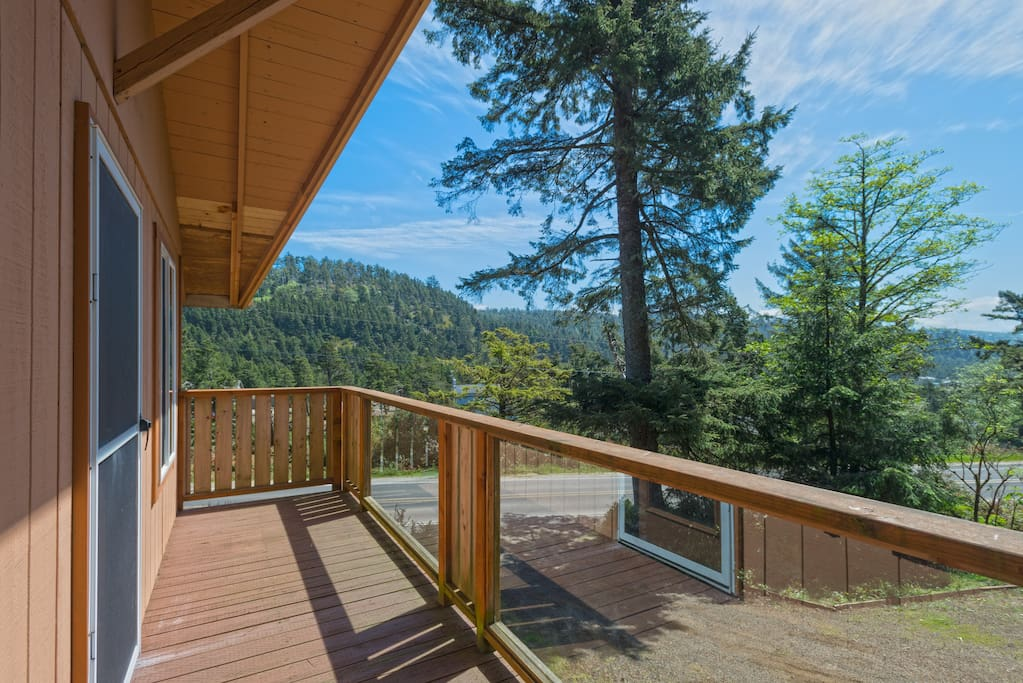The sun-drenched deck is accessible from the living room.