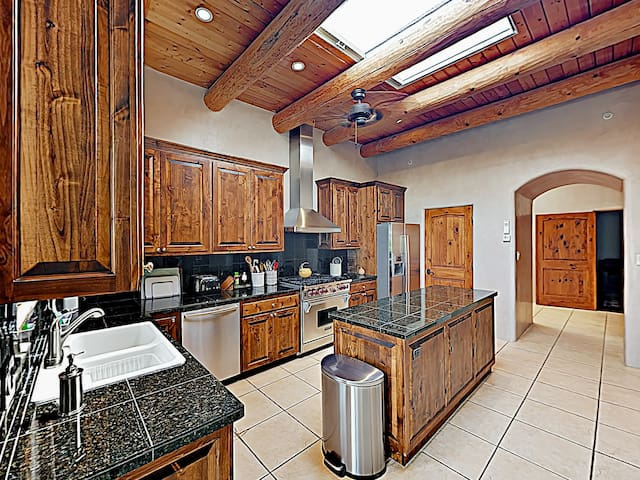 Open beam ceilings add to the ambience of the kitchen.