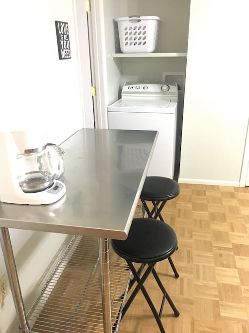 Coffee and tea provided. Washer and dryer available in apartment for guest use.