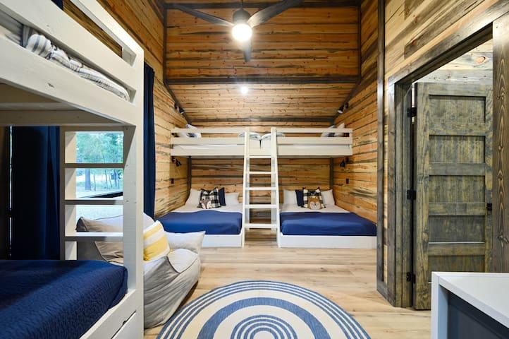 Two queen beds  5 Twin beds Bunk Room sleeps 9