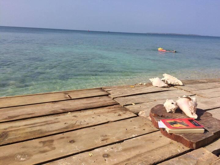 El Hamaquero - Cabaña frente al arrecife de coral