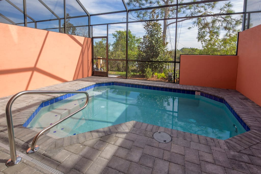 The optionally heated plunge pool is a great place to either take a cooling dip or relax after a long day walking around the theme parks of Orlando.