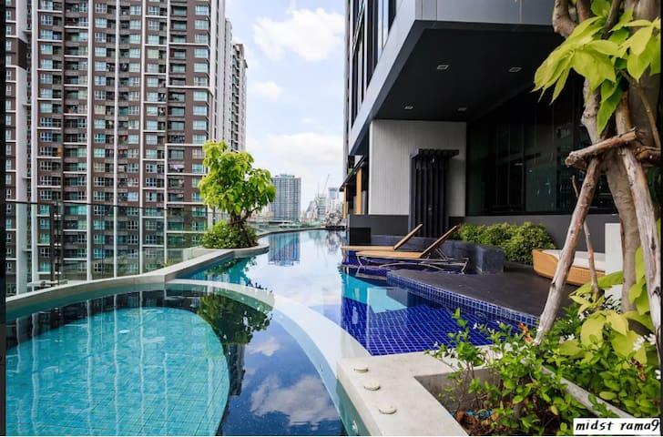 Super COSY 1BR - 3Mins walk to MRT Rama9 - Bangkok - Condominium