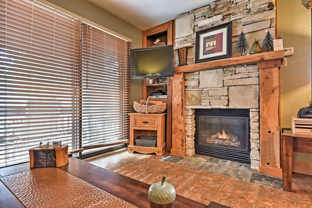 Relax by the gas fireplace.