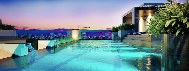 Tropical Skypool Cozy 1bd@Bts Erawan-Free Wifi