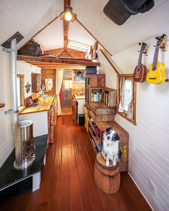 Crate staircase, kitchen, and bathroom in the back. Wood stove serves as heat and ambience. Dogs welcome!