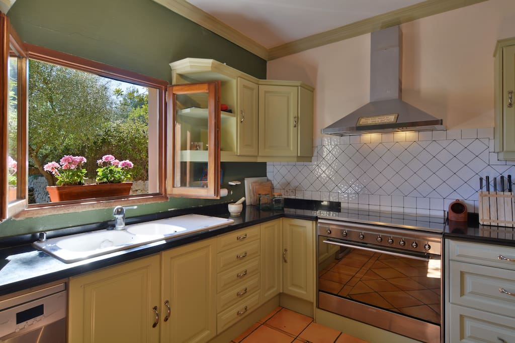 Country style kitchen with large gas smeg oven. fully stocked with appliances ie. Juicer.