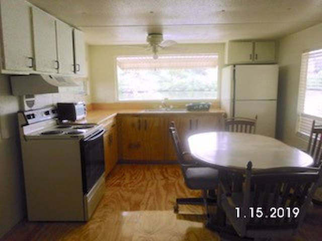 Kitchen with water view of Oyster Bayou