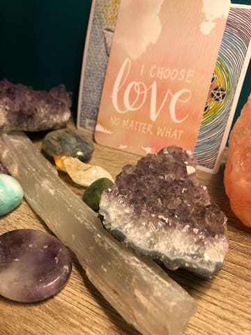 Bedside crystals and tarot cards