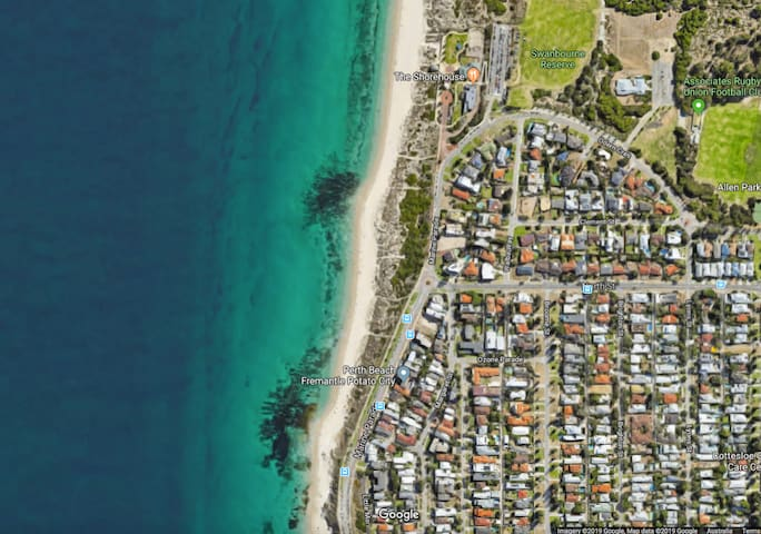 "Less than 200 metres from the beach, we're a ""stones throw"" and an easy walk to jump in the beautiful waters of Cottesloe Beach."