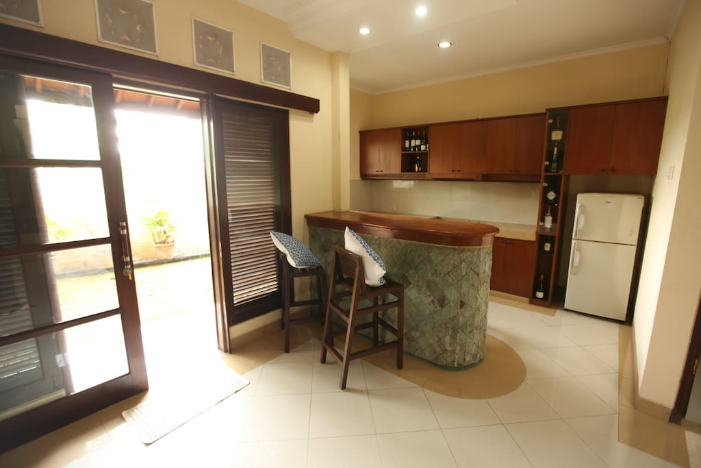 the house equipped with the kitchen pantry and fridge and facing to the beautiful garden  and ricefield
