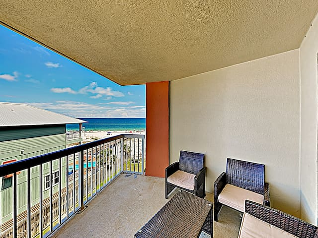 Take in Gulf views from the private balcony, equipped with seating for 6.