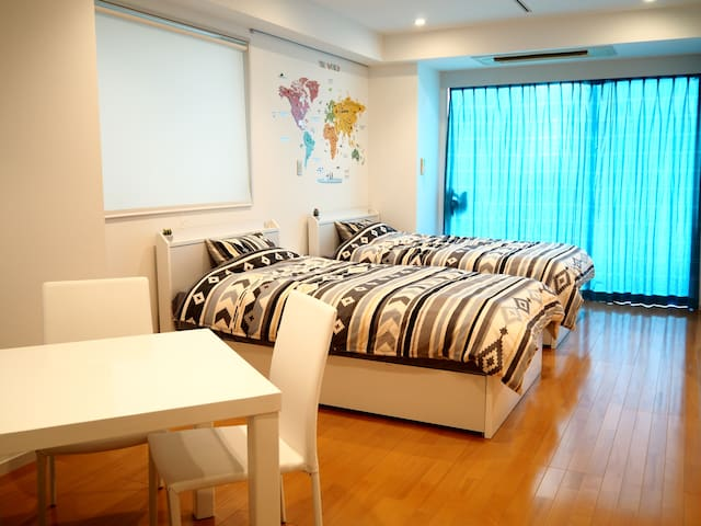 1min to AZABU St!2W-bed!Very Clean,Wide ,Cozy!