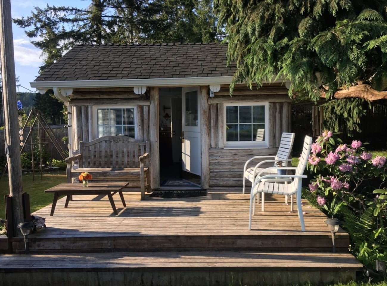 Cabin with deck.  Built by my grandparents in the 1930's, it's been moved and remodeled at least twice.  Now is the best it's ever been; clean, comfortable and private, with everything you need, and then some!!