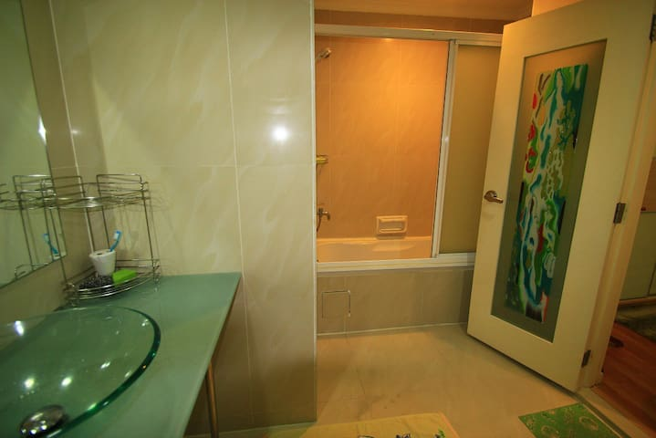 Bathtub shower when you feel like having your own space after sweating