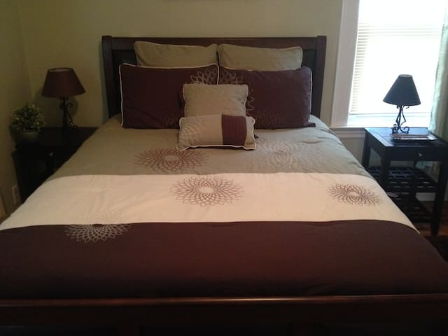 A comfortable queen size bed for two