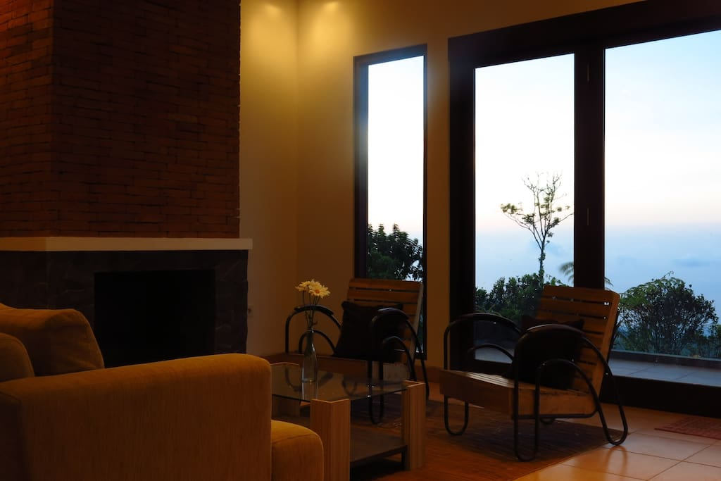 Living room with fireplace