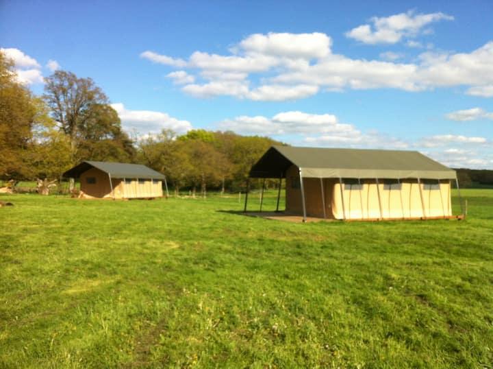 Safari tent on a farm with pool
