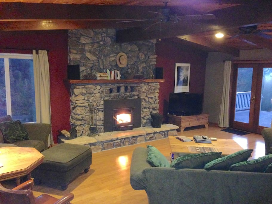 Stone fireplace wood stove is available for guests to use November-April (locked during summer and fall fire season)
