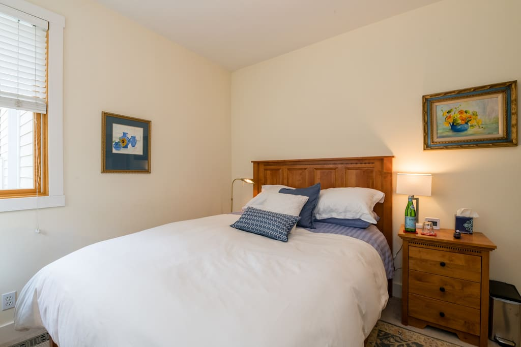 Supremely comfortable queen bed and adjoining private bathroom