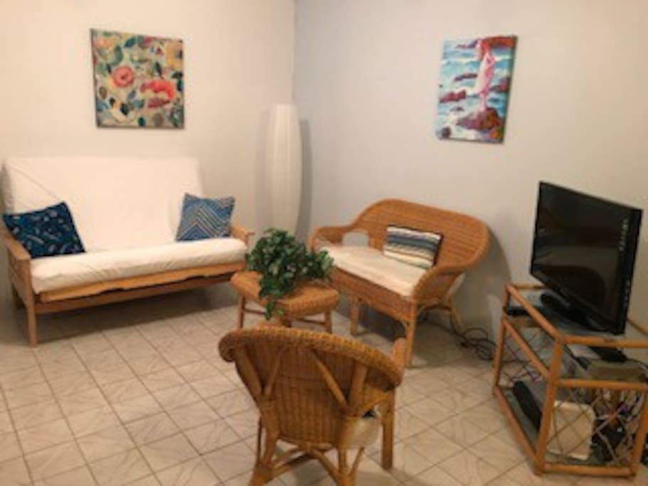 Living room with full size futon