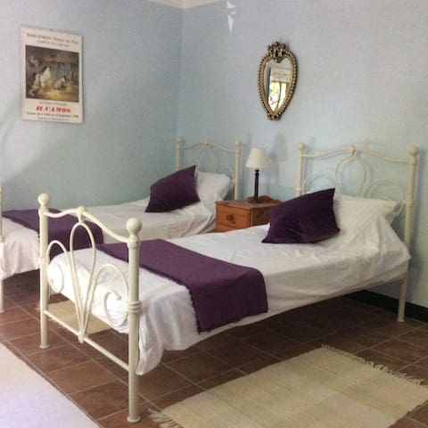 twin bedded room overlooking Place Moreri
