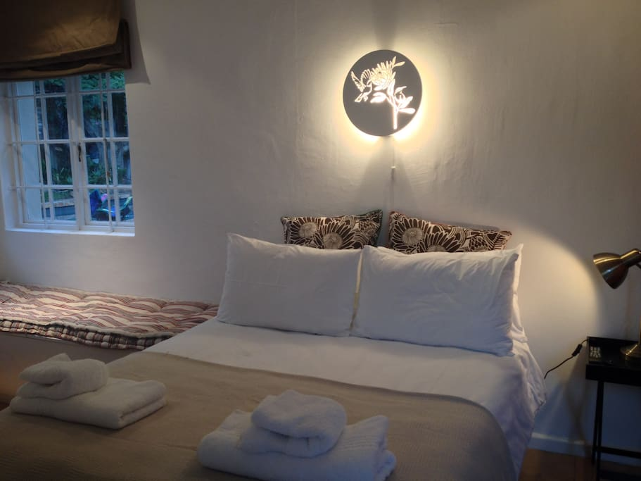cosy comfy bed with crisp white linen.