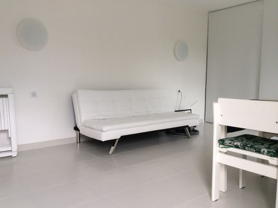 Salotto con divano letto, ora i divani letto sono due, aperti sono della dimensione di un letto alla francese, per cui possono dormire anche due persone. Inclusi copridivani in spugna su misura.