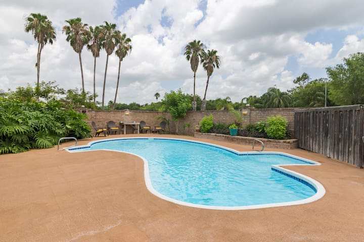Spacious and relaxing pool area.  Plenty of seating space to visit with family and friends or sit quietly and read a book.