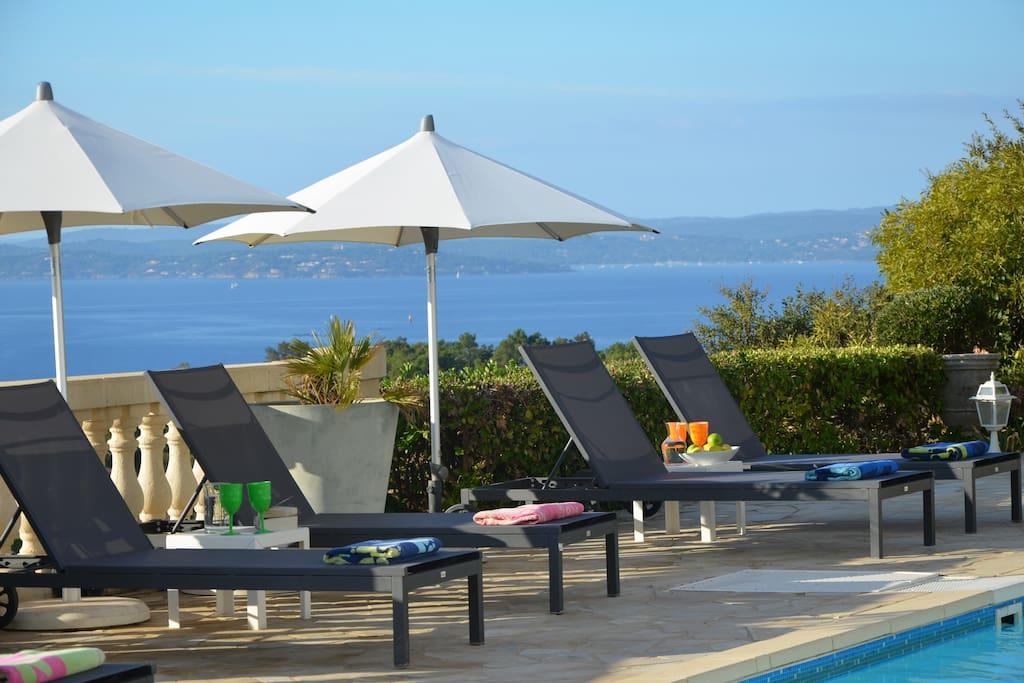 Pool terrace wit St Tropez in distance