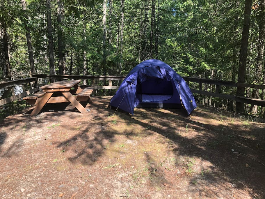 Site 23 in the back wood, tent with 2 comfortable single mats, good for a couple as well.