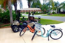 *If you'd like to travel by golf cart, mine is available to rent for an extra fee. Two beach cruiser bikes are available along with safety gear.