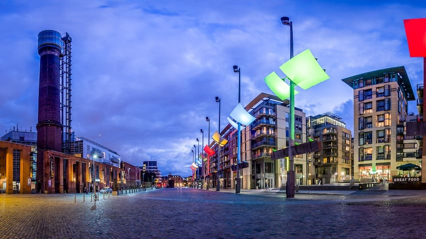 Smithfield Square. Our Apartment complex on the right and Jameson Distillery Tourist Experience on the left