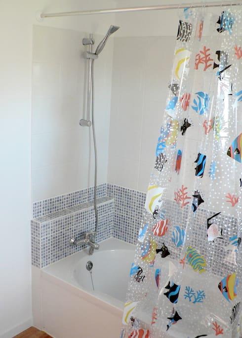 Bathroom; shower + bath suitable for small children