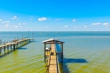 180 foot private fishing pier with fish cleaning stand