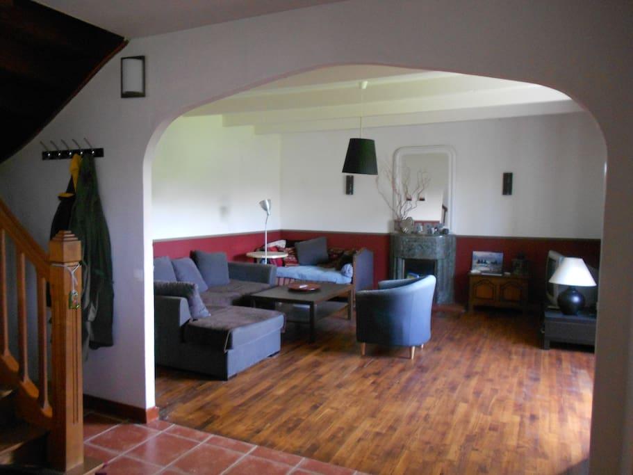 Grand salon sur jardin et cuisine ouverte