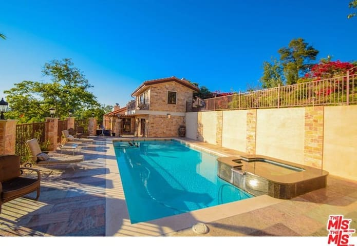 Large Pool Hollywood Hills Mediterranean  Estate