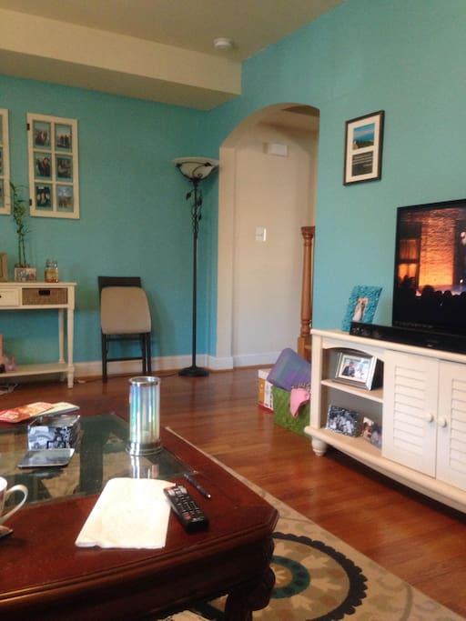 Living room facing kitchen