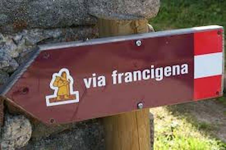 Pilgrims in Via Francigena Borgo del Ponte