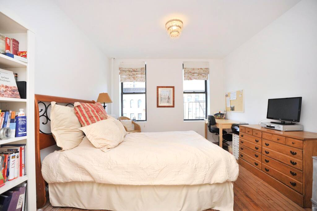 Bedroom facing Amsterdam Avenue. Beautiful sunsets...