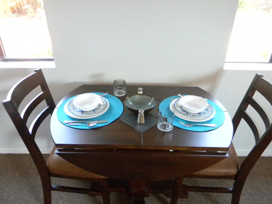 Small Dinette complete with dishes, silverware and glassware