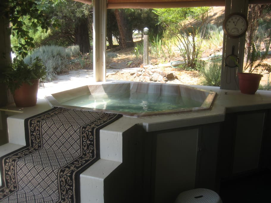 Large 6 person Hot Tub. No chemicals used to keep the water clear and purified. We use a electronic copper/zinc ionizer which kills all bacteria and algae.  You're outside in a beautiful setting. Deer wander through daily.