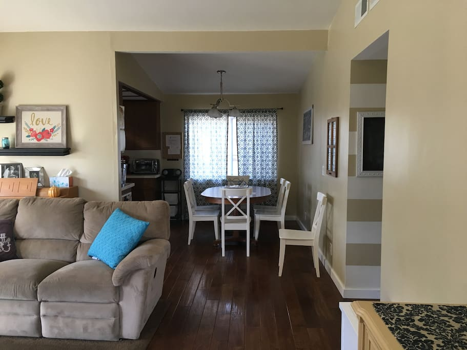 Living room with adjacent dining area