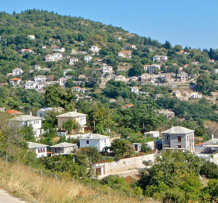 The village of Agios Georgios. The villa is in the left side of the photo