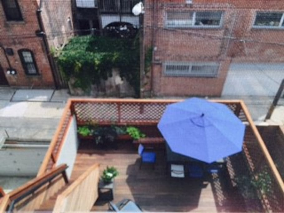 Amazing deck with Lounges/dinning table and lots of plants